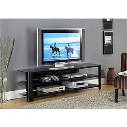 "Oxnard 52"" TV Stand Black Temp. Glass/3 shelves TO452GBK Image"