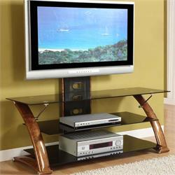 "Nexus-EZ 52"" TV Stand Wood Finish -Temp. Glass TO052GBW Image"
