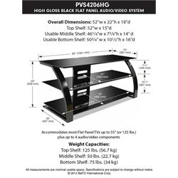 "High Gloss Black Finish - holds up to 55"" TV PVS4206HG Image"